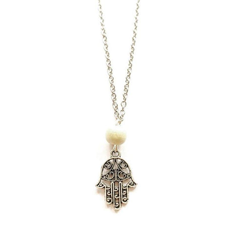 "Hamsa Hand Charm Necklace (16"" chain) - highmaintenancejewellery"