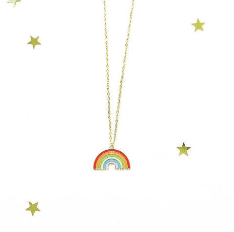 Large Gold Trim Rainbow Charm Necklace