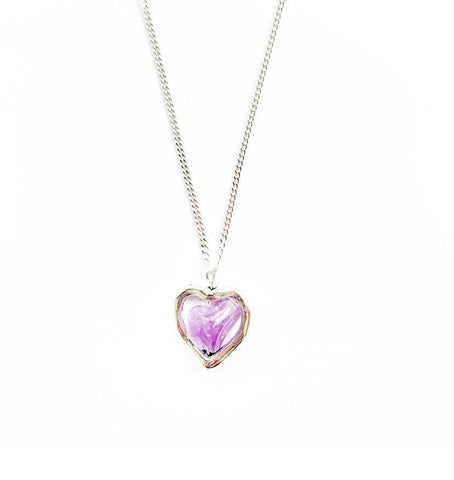 Amethyst Crystal Heart Sterling Silver Necklace - highmaintenancejewellery