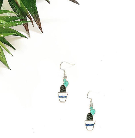 Cute 'Love' Cacti Charm Earrings - highmaintenancejewellery