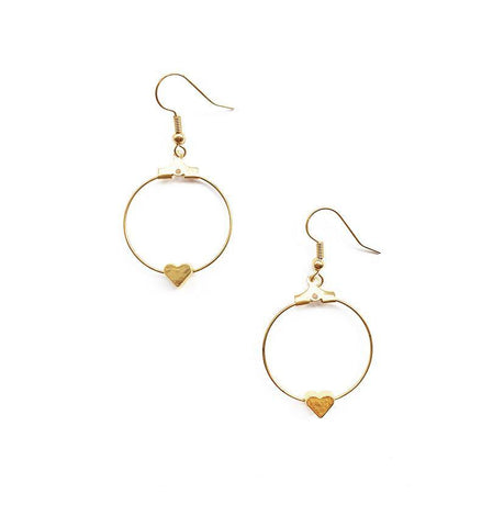 Gold Heart Hoop Earrings - highmaintenancejewellery