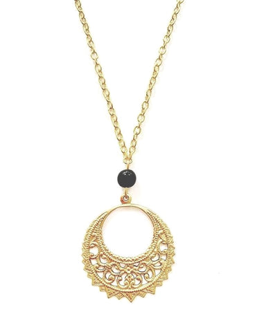 Gold Boho Pendant Necklace