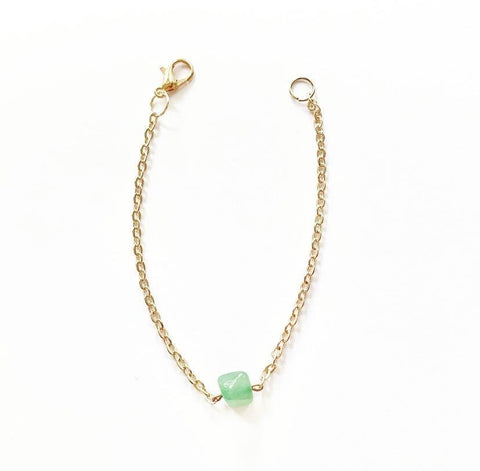 Green Aventurine Crystal Stone and Rose Gold Plated Chain Bracelet - highmaintenancejewellery