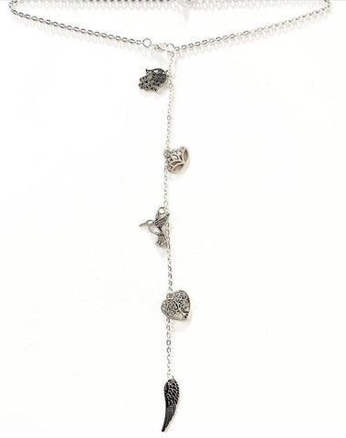 Back Drop Five Silver Charms Necklace