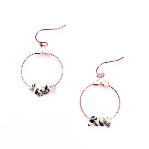 Dalmatian Jasper Crystal and Rose Gold Hoop Earrings