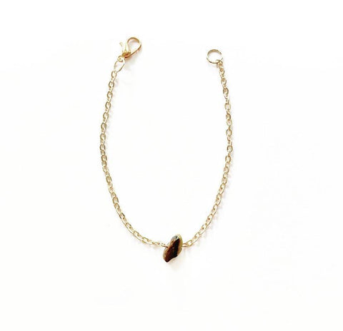 Tigers Eye Crystal Stone and Rose Gold Plated Chain Bracelet