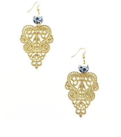 Edwardian Style Gold Curved Earrings