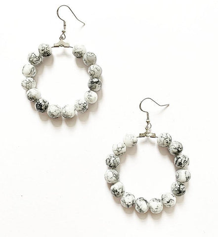 Marble Style Hoop Earrings - highmaintenancejewellery