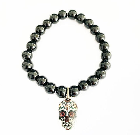 Skull Charm and Black Beaded Bracelet
