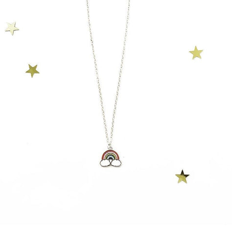 Rainbow and Cloud Silver Trim Charm Necklace