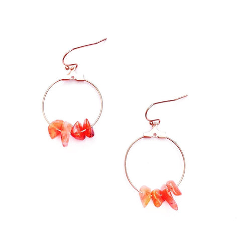 Carnelian Crystal and Rose Gold Hoop Earring