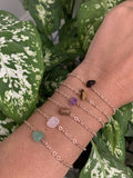 Smokey Quartz Crystal Stone and Rose Gold Chain Bracelet