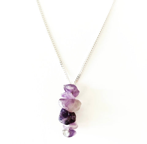 Amethyst Crystal Drop Necklace