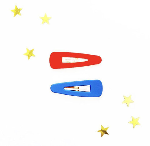 Triangular Large Hair Clips - Red & Blue