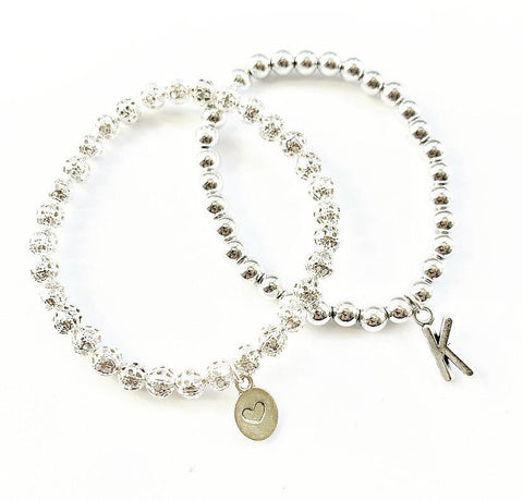 Silver Duo Charm Stacking Bracelets