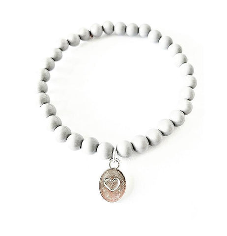 'Self Love' Grey Beaded Bracelet with Pressed Heart Charm - highmaintenancejewellery