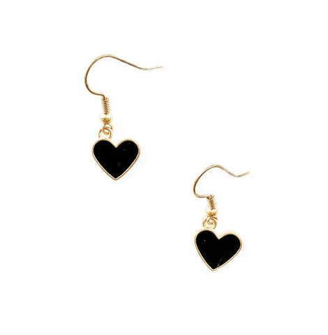 Dainty Black & Gold Heart Earrings