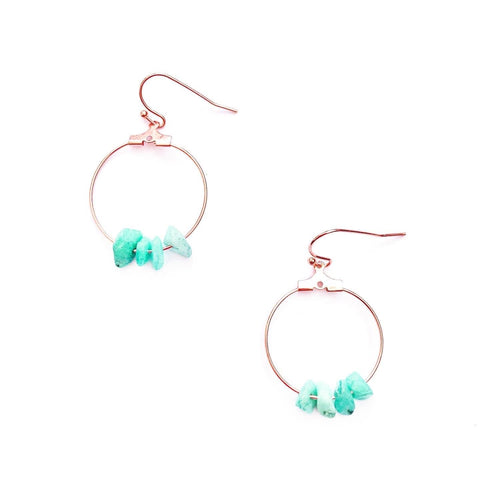 Turquoise Crystal and Rose Gold Hoop Earrings