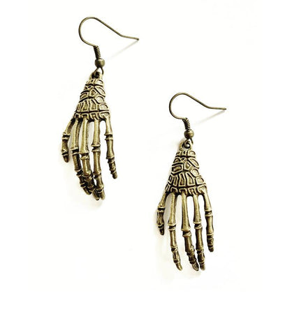 Bronze Skeleton Hand Earrings - highmaintenancejewellery