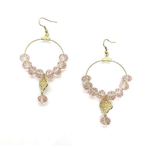 Faceted Blush Pink & Gold Hoop Earrings