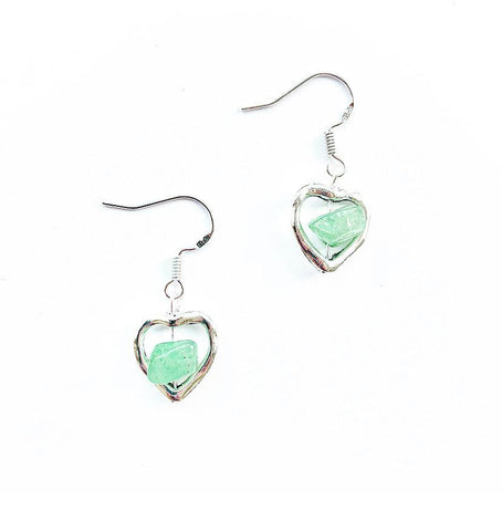 Green Aventurine Crystal Heart Sterling Silver Earrings - highmaintenancejewellery