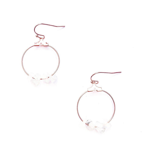 Clear Quartz Crystal and Rose Gold Hoop Earrings