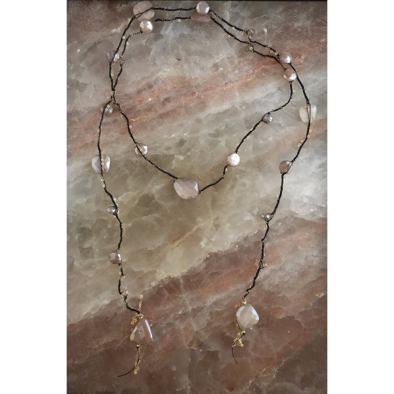 Rio Rainbow Moonstone & Gold Chain Lariat Necklace