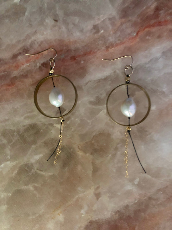 Earrings |Suspended Pearl Hoop Earrings