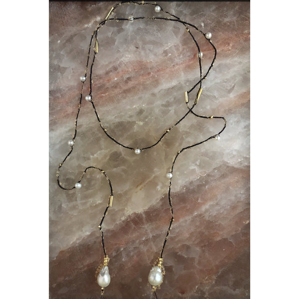 Rio Pearl & Gold Lariat Necklace