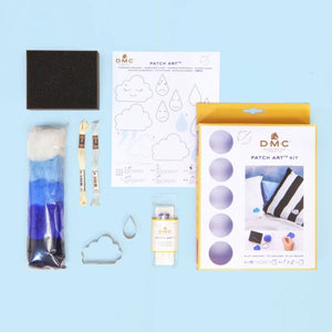 Kit Patch Art Nube y Gota de lluvia para fieltrar