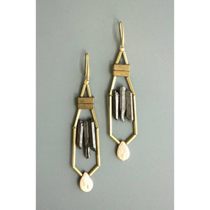 Hematite, Quartz, Brass & Fresh Water Pearls Dangling Earrings