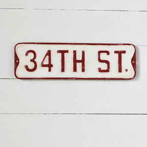 "Enamel ""34TH ST"" Sign"