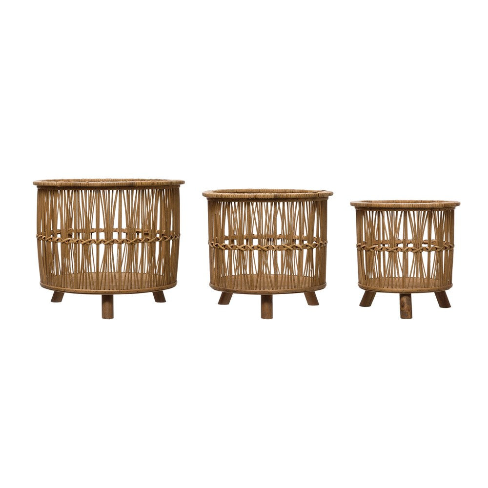 Bamboo Footed Baskets, 3 Sizes