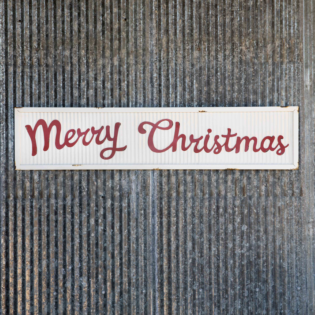 Corrugated Metal Merry Christmas Sign