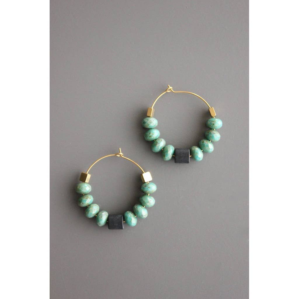 Czech Picasso Glass, Black Agate, and Brass Hoop Earring