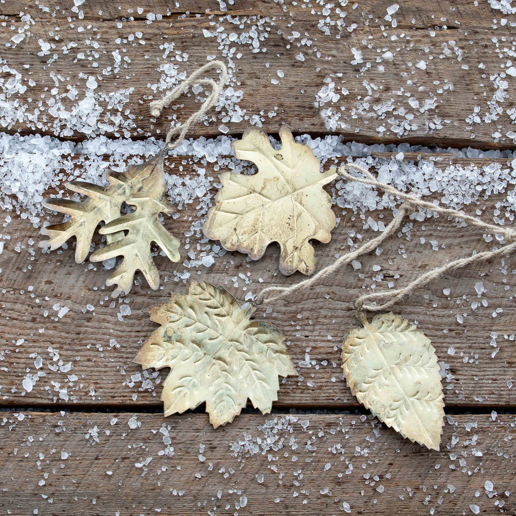 Golden Tree Leaf Ornaments, 4 Assorted Styles