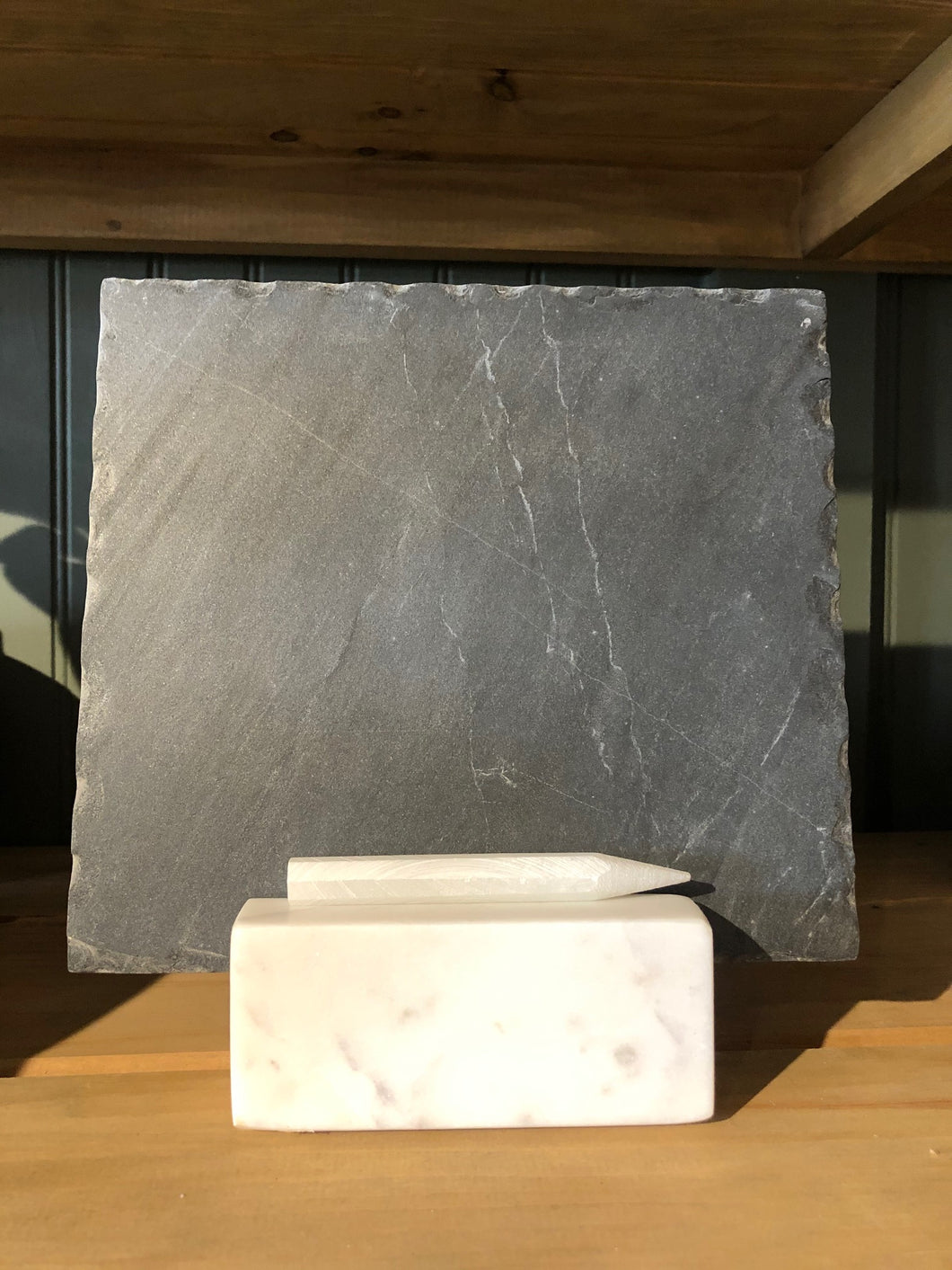 Slate Slab in Marble Base with Soapstone Stick