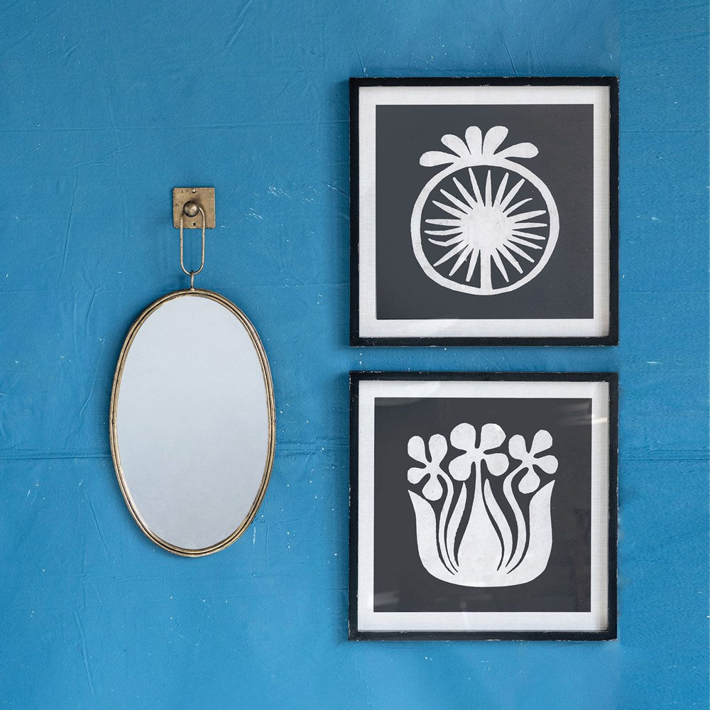 Oval Metal Framed Wall Mirror w/ Bracket