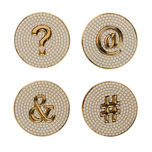 Embossed Stoneware Coasters with Symbols, White & Gold, Set of 4