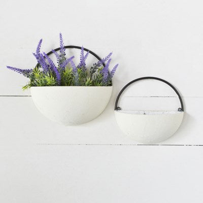 Round Wall Planter - Black & White