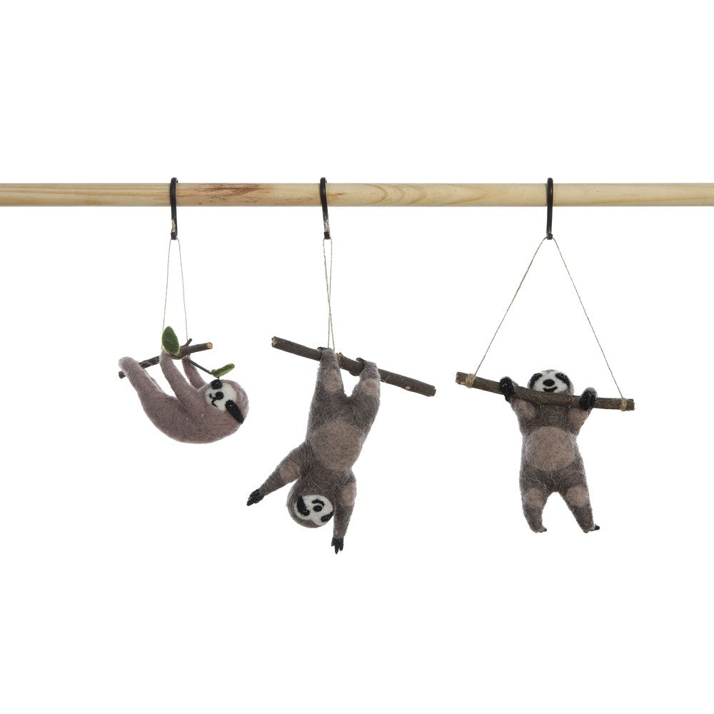 Wool Felt Sloth Ornament