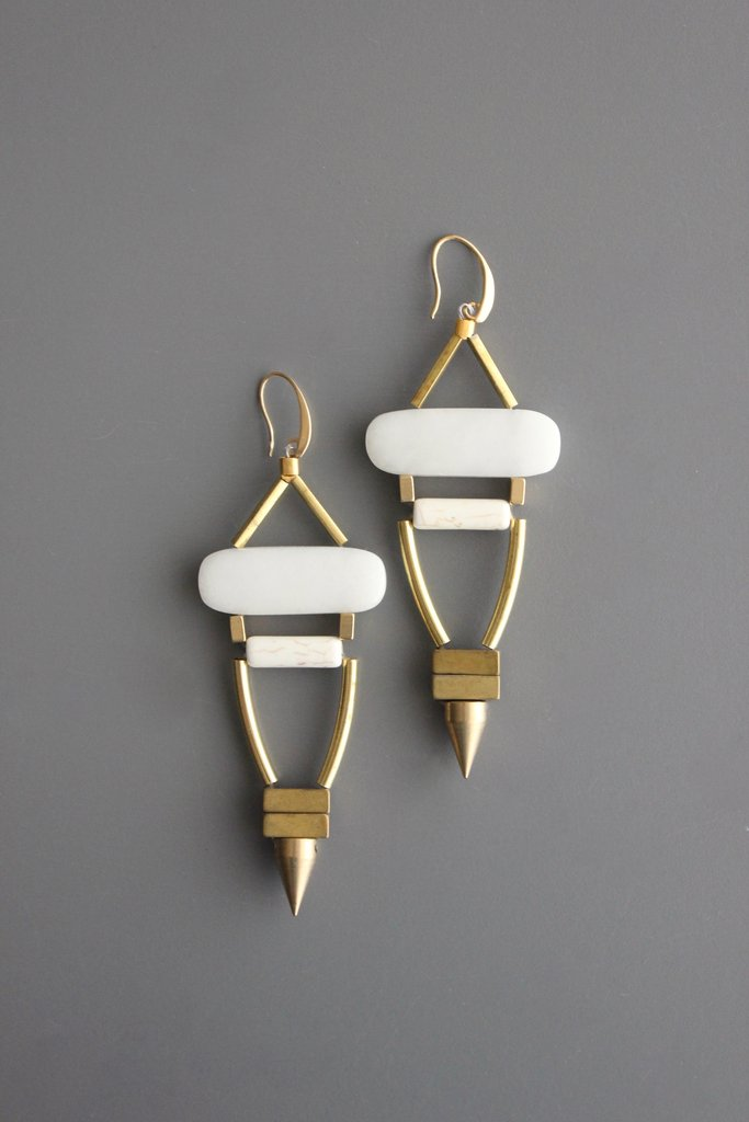 White Agate Dangling Earring