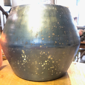 Blue Speckled Iridescent Vase