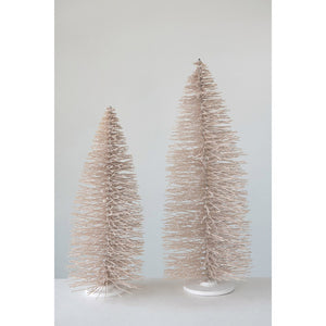Bottle Brush Tree on Wood Base, Blush Color w/ Glitter
