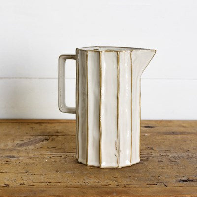 Ridged Ceramic Pitcher