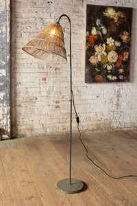 Floor Lamp with Rattan Shade