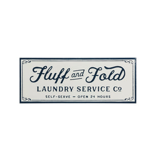 "Enamel ""Fluff and Fold"" Laundry Sign"