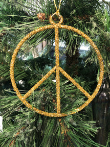 Metal and Glass Bead Peace Ornament