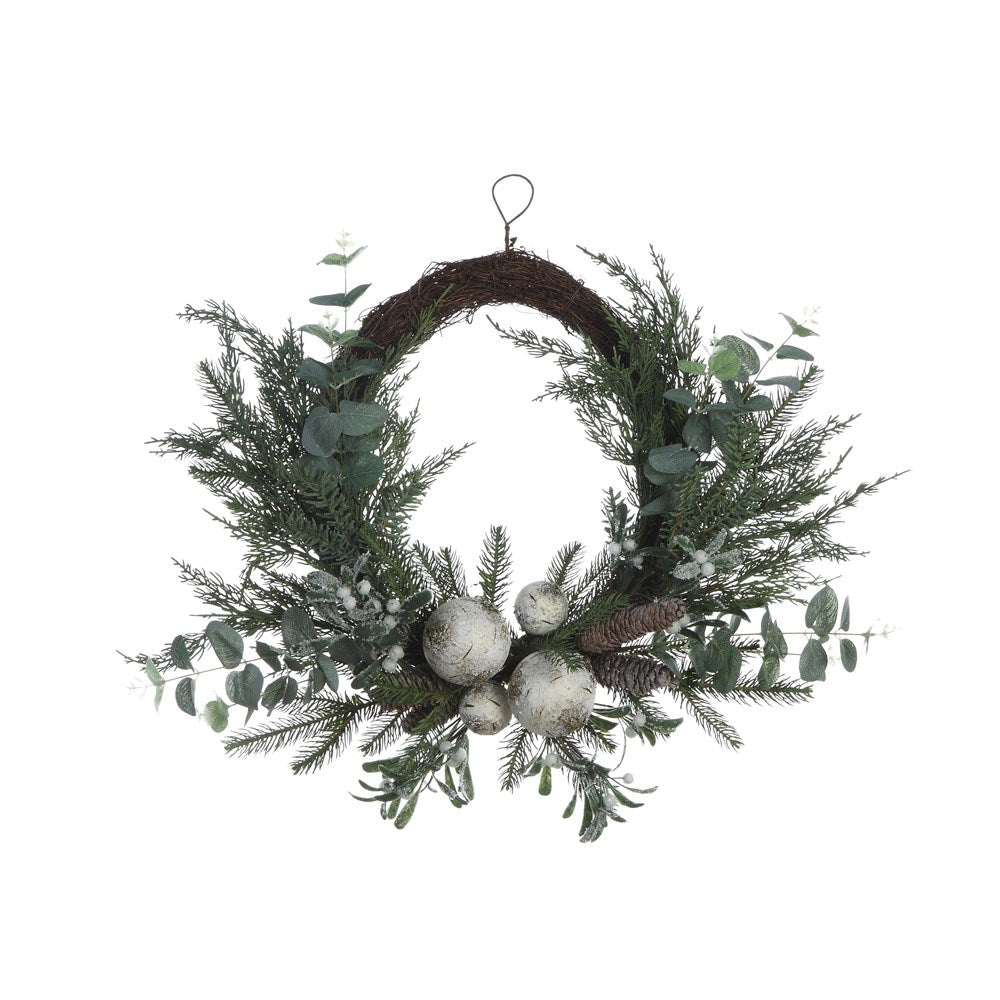 Pine Wreath w/ Eucalyptus, Mistletoe, Birch Balls & Pinecones