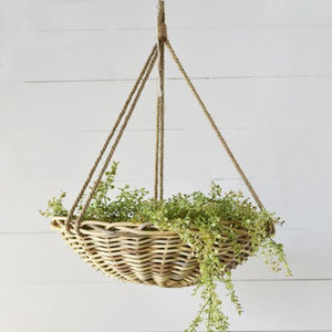 Oversized Rattan Hanging Planter